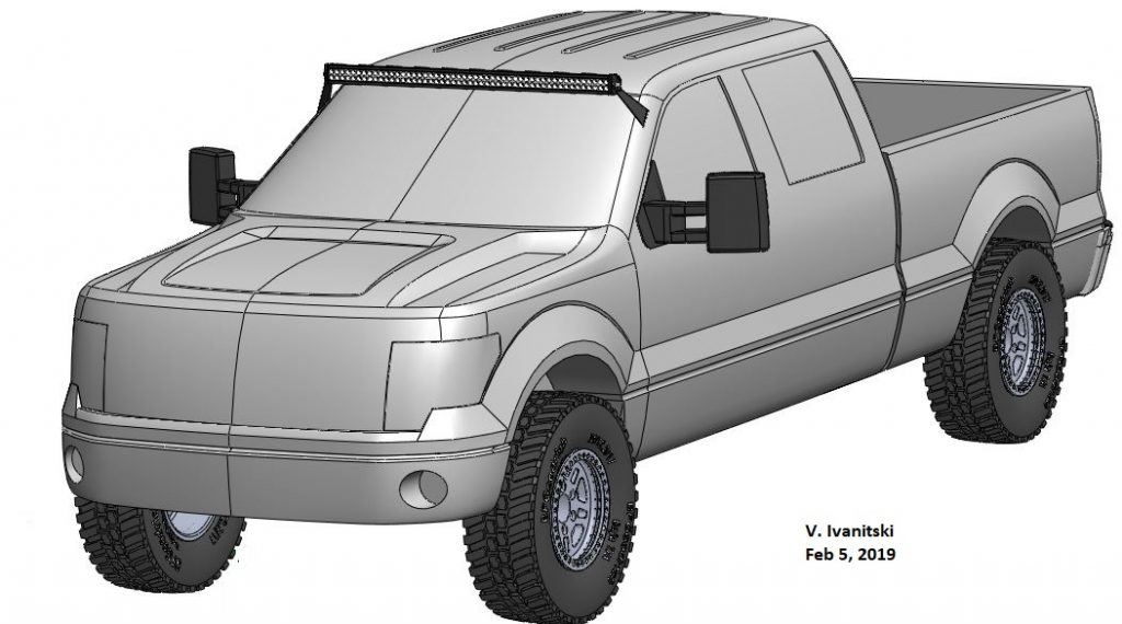 Ford F150 3D CAD model with LED Light Bar