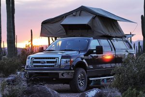 Roof top tent on 2014 F150 6.5ft bed at Organ Pipe Cactus National Monument