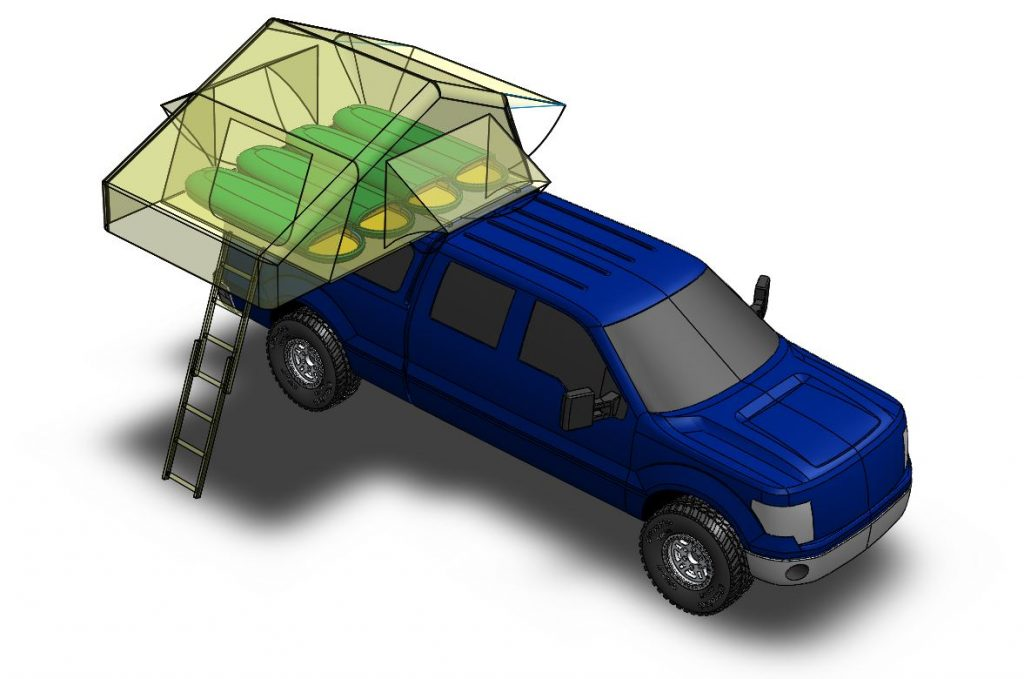 3D CAD model of Smittybilt Overlander XL roof top tent on F150