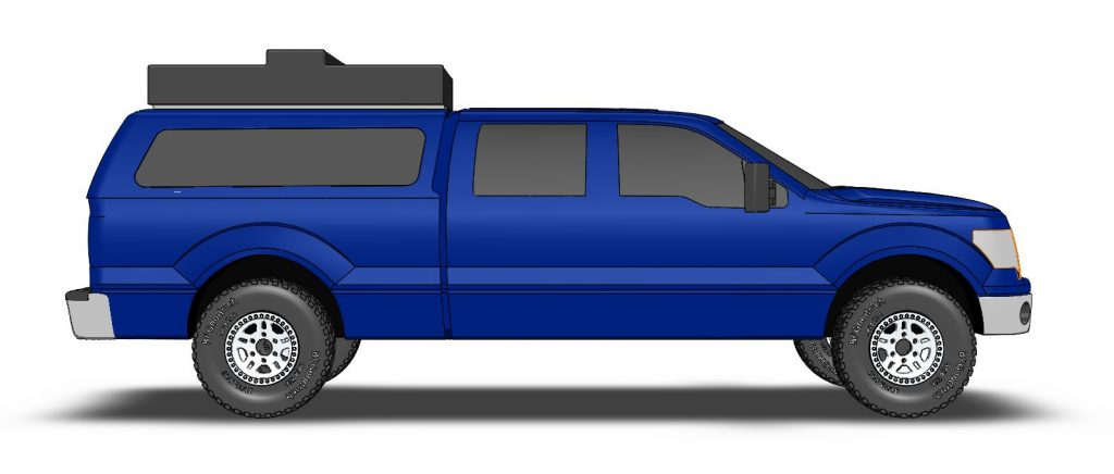 3D CAD model of Smittybilt roof top tent side view