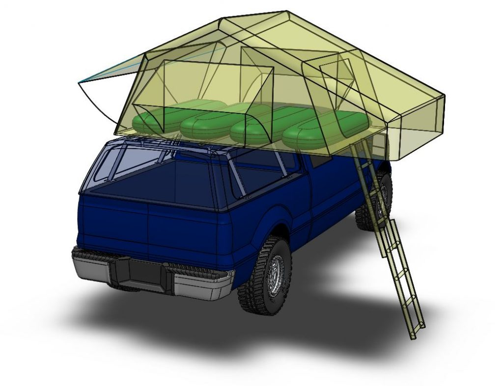 3D CAD model of F150 with roof top tent and supportin gstructure