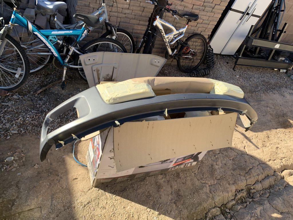 Ford Raptor bumper cut welded and masked for bedliner