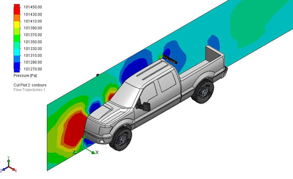 Isometric view of a pressure cut plot for truck aerodynamics with LED bar behind the cab