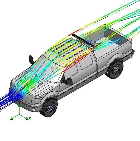 LED Light Bar Aerodynamics Behind Truck Cab