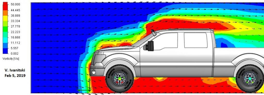 CFD aerodynamic analysis of windshield mounted LED light bar