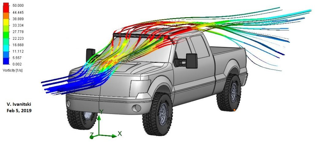 Truck aerodynamics with LED light bar