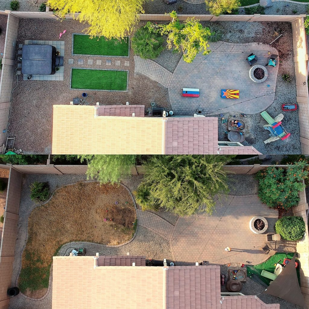 Aerial view of back yard from drone