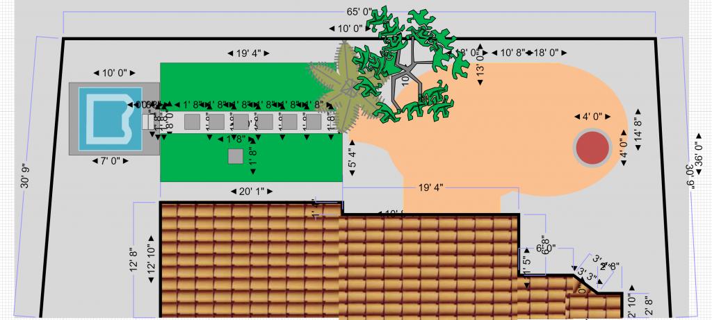 CAD drawing of back yard plan