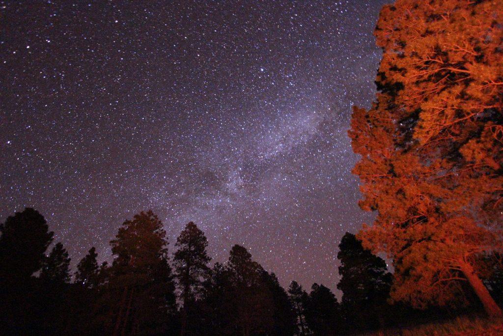 Milkyway galaxy seen from campfire at Humphrey's peak