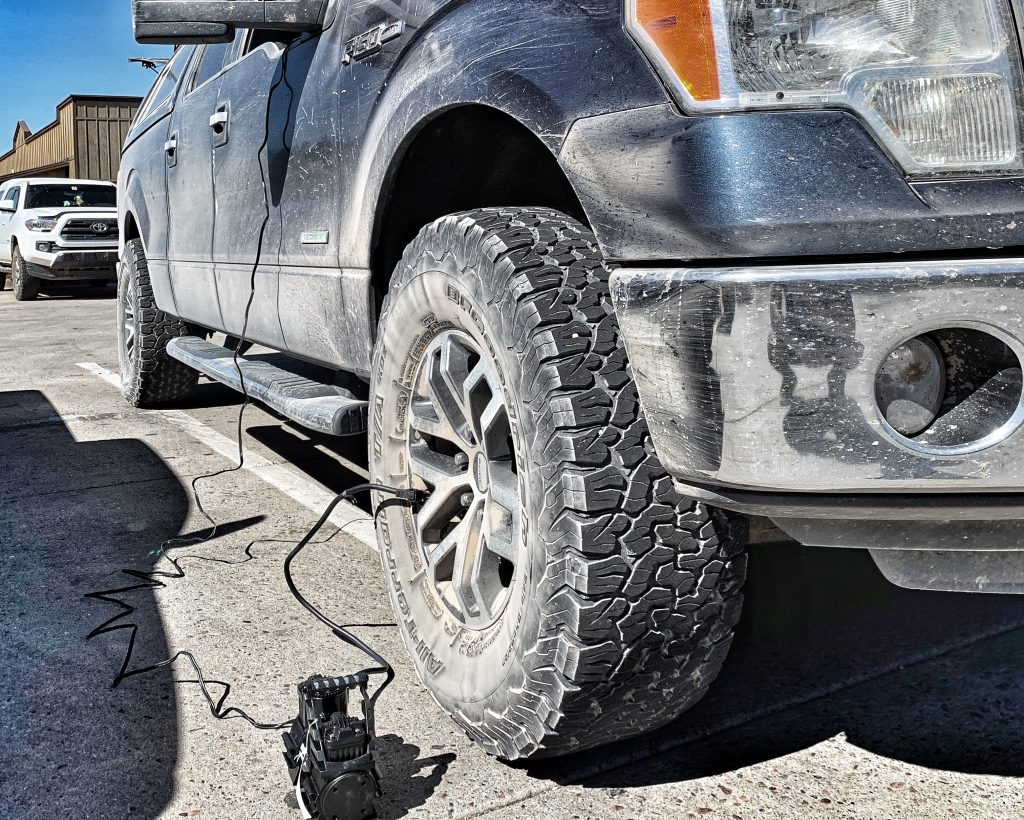 xplrcreate air compressor inflating tires after air down for offroad driving