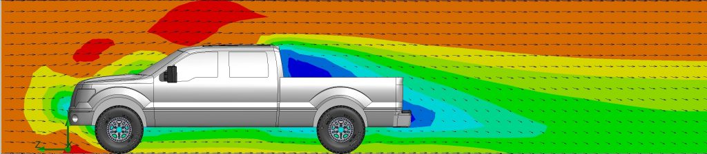 side view of air velocity cut plot of 2014 F150 pickup truck without tailgate