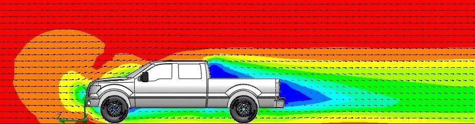 Velocity cut plot of airflow around a 2014 F150 pickup truck with tailgate closed.
