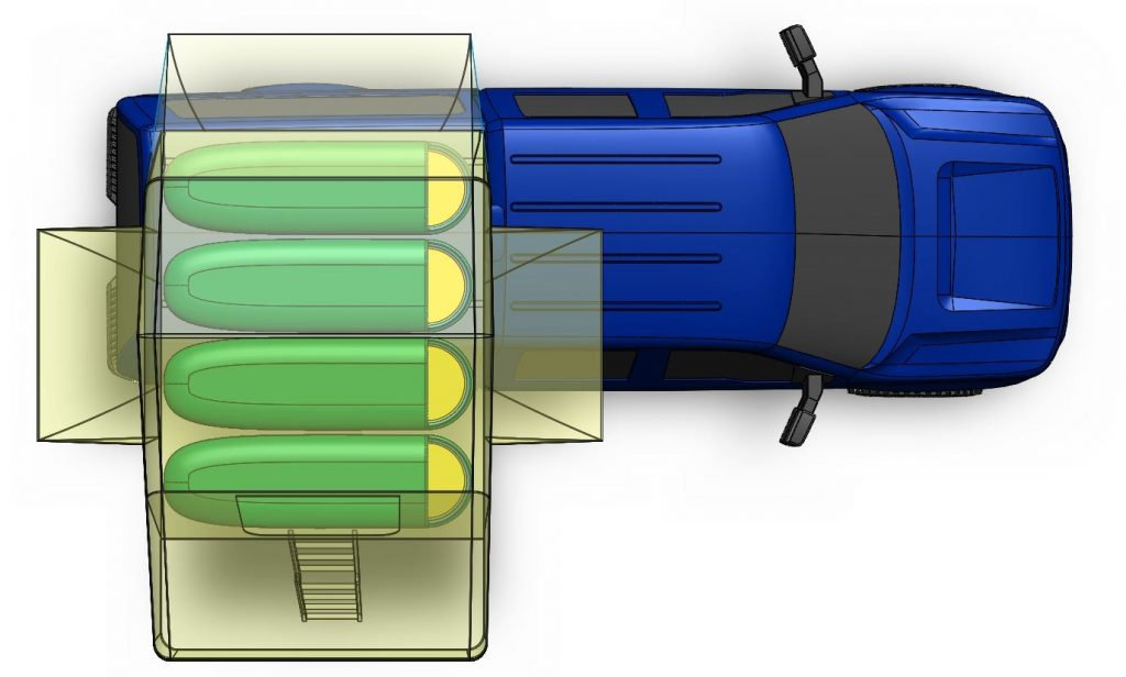 3D CAD model rendering of Smittybilt Overlander XL tent on F150 from above