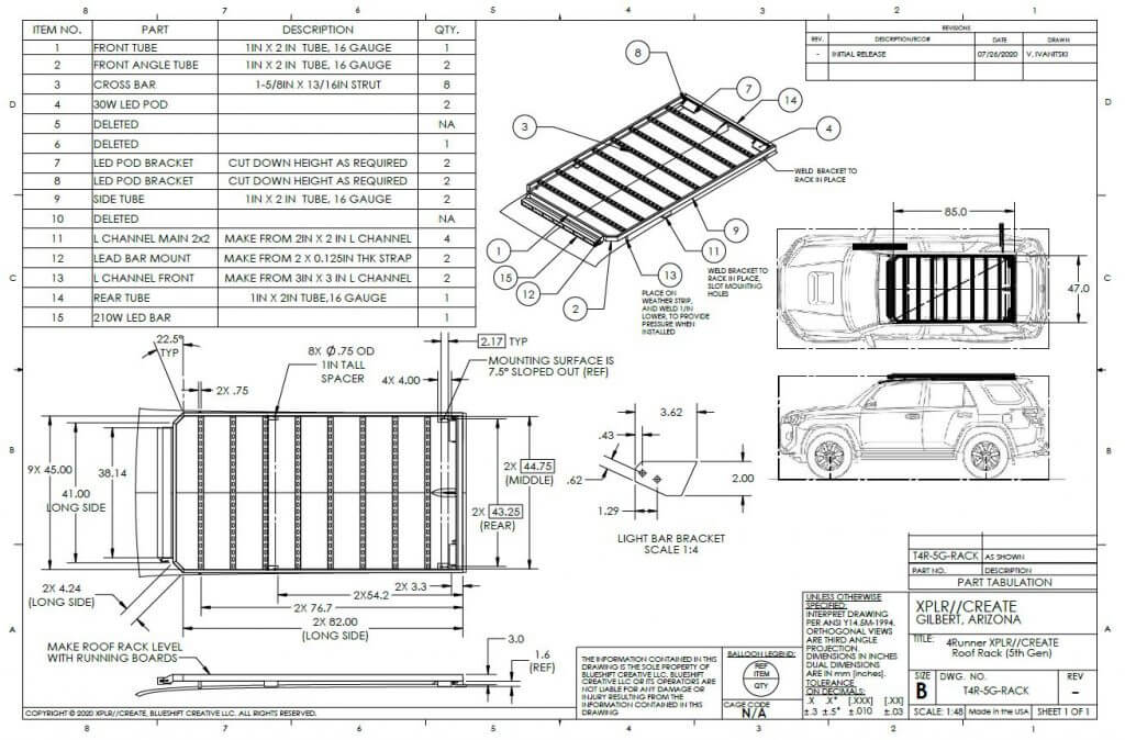 DIY 4Runner roof Rack fabrication drawing blueprint dimensions