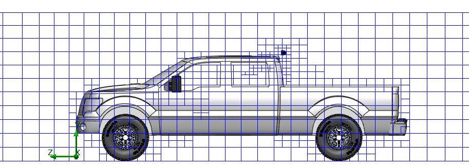 FEA Aerodynamics mesh for LED Bar behind truck cab on a Sport Bar