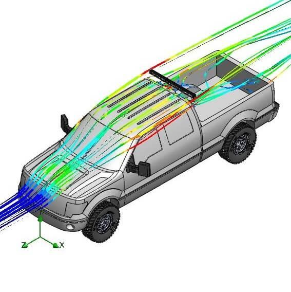 LED Light Bar Aerodynamics Behind Truck Cab