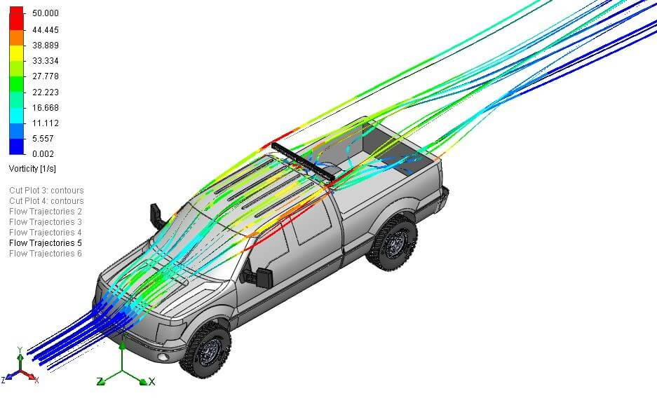 Isometric view of air flow over the roof of an f150 pickup truck with an LED bar above the roof behind the cab on a sport bar type mount