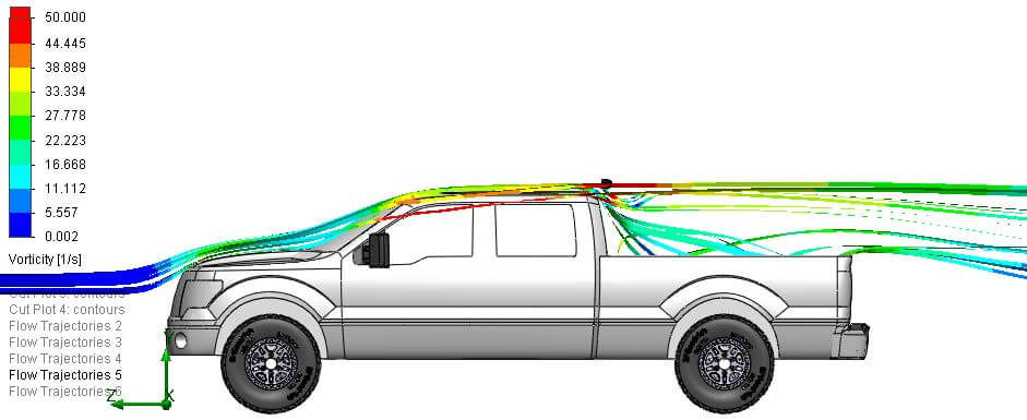 Side view of air flow over the roof of an f150 pickup truck with an LED bar above the roof behind the cab on a sport bar type mount.